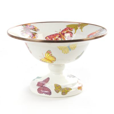Butterfly Garden Small Compote - White