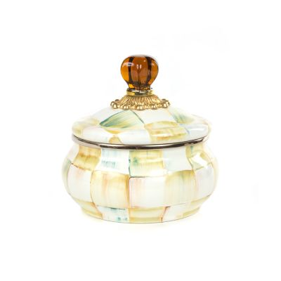 Image for Parchment Check Enamel Squashed Pot