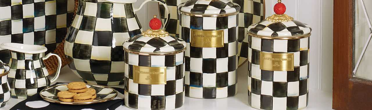 Courtly Check Enamel Canister - Medium Banner Image