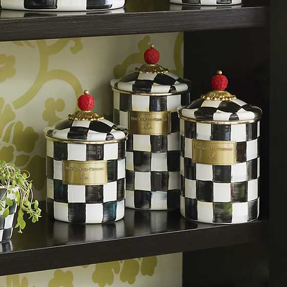 Courtly Check Enamel Canister - Large image four