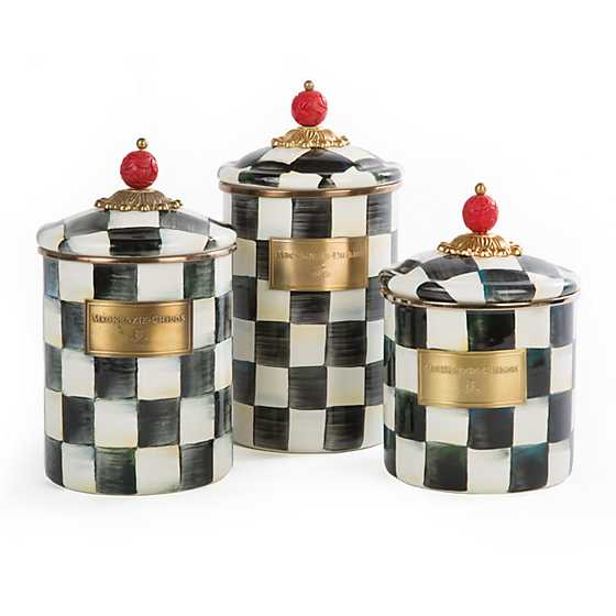 Courtly Check Enamel Canister - Large image three
