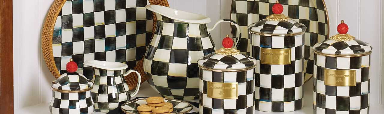 Courtly Check Enamel Canister - Large Banner Image