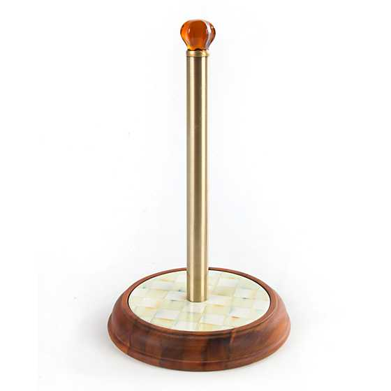 Parchment Check Wood Paper Towel Holder image one