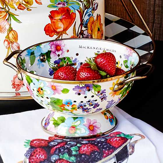 Flower Market Small Colander - White image six