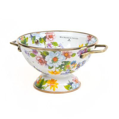Flower Market Small Colander - White