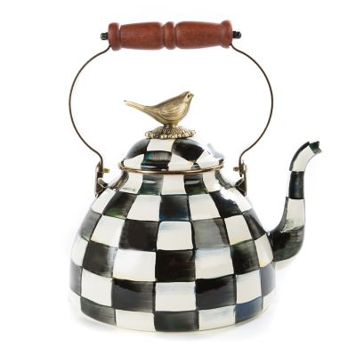 Image for Courtly Check Enamel 3 Qt. Tea Kettle with Bird