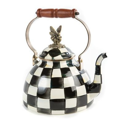 Courtly Check Enamel 3 Qt. Tea Kettle with Butterfly