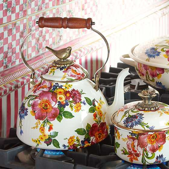 Flower Market 3 Qt. Tea Kettle with Bird
