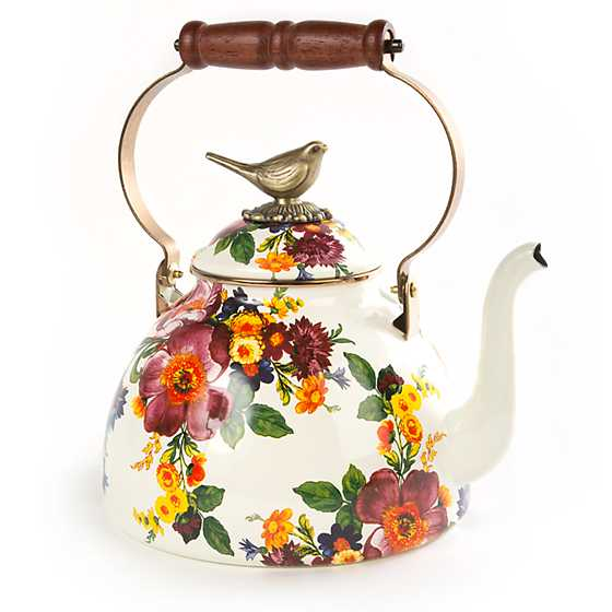 Flower Market 3 Qt Tea Kettle With Bird