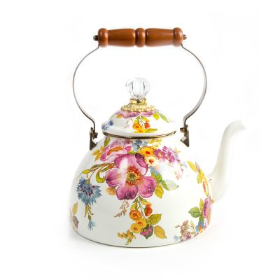 Flower Market 3 Quart Tea Kettle - White