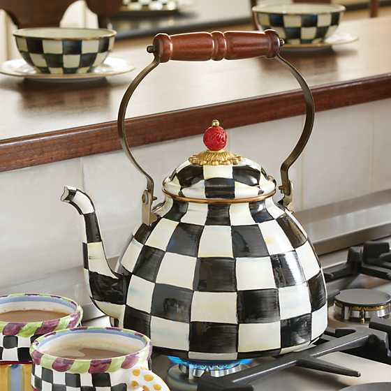 Courtly Check Enamel Tea Kettle - 3 Quart image two