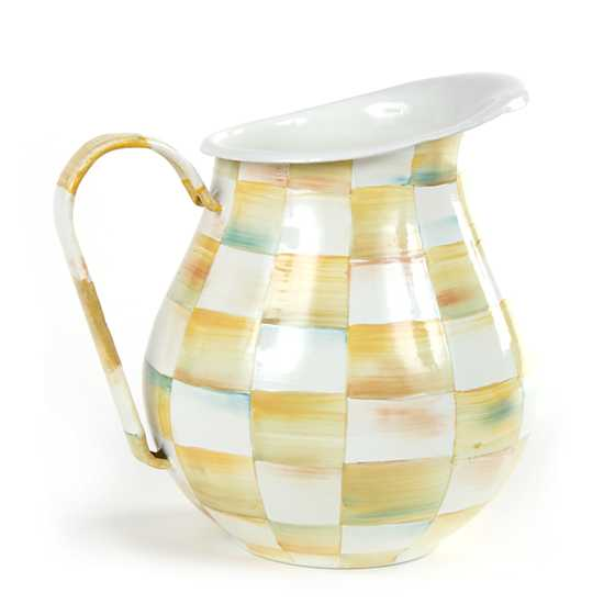 Parchment Check Enamel Pitcher