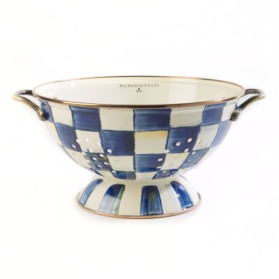Royal Check Enamel Colander - Large