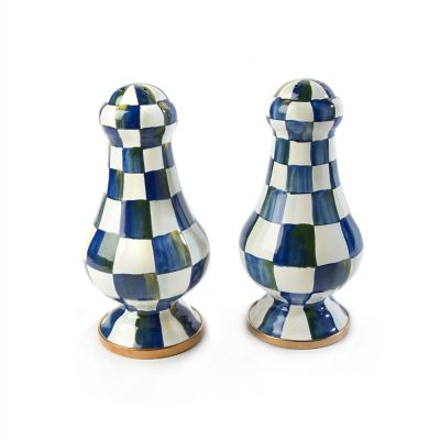 Royal Check Enamel Large Salt & Pepper Shakers