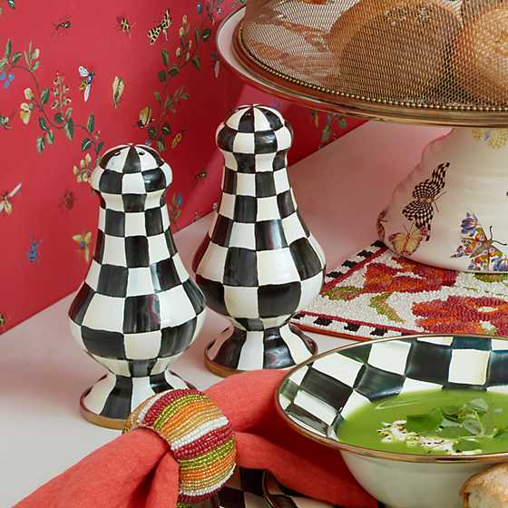 Courtly Check Enamel Large Salt & Pepper Shakers image two