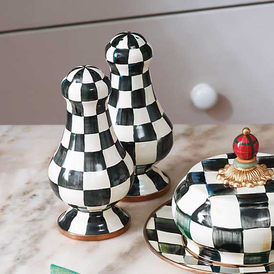 Courtly Check Enamel Large Salt & Pepper Shakers image three