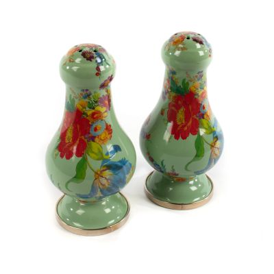 Flower Market Large Salt & Pepper Shakers - Green