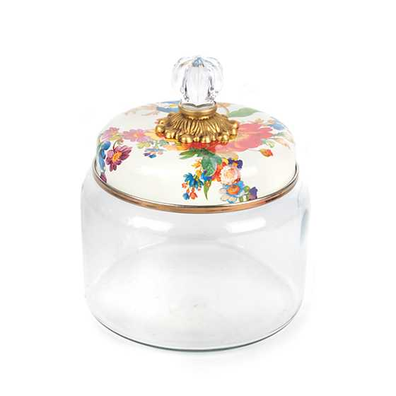 Flower Market Kitchen Canister - White - Small