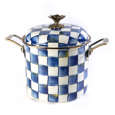 Image for Royal Check Enamel 7 Qt. Stockpot
