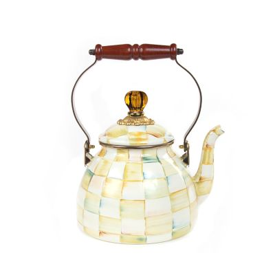 Image for Parchment Check Enamel Tea Kettle - 2 Quart
