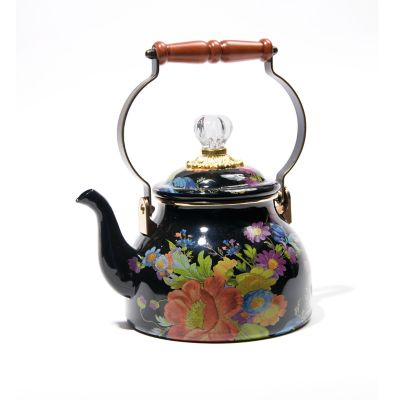 Flower Market 2 Quart Tea Kettle - Black