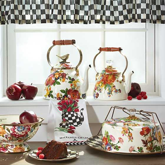 Flower Market 2 Quart Tea Kettle - White image three