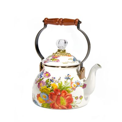 Flower Market 2 Quart Tea Kettle - White