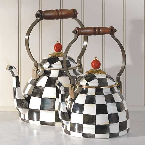 Courtly Check Enamel Tea Kettle - 2 Quart image four