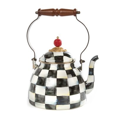 Image for Courtly Check Enamel Tea Kettle - 2 Quart