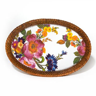 Flower Market Small Rattan & Enamel Tray -White