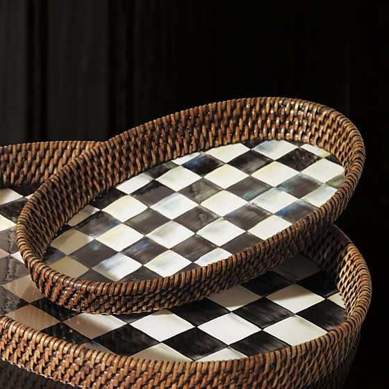 Courtly Check Rattan & Enamel Tray - Small image two