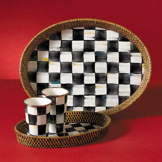 Courtly Check Rattan & Enamel Tray - Small image five