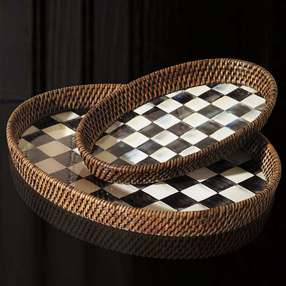 Courtly Check Rattan & Enamel Tray - Large image two
