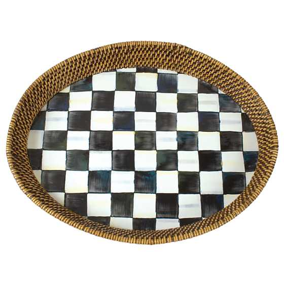 Courtly Check Rattan & Enamel Tray - Large