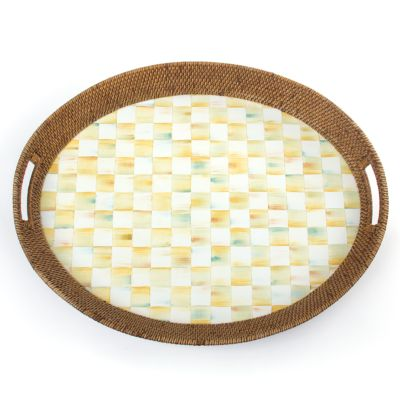 Parchment Check Rattan & Enamel Party Tray