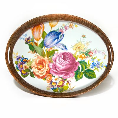 Flower Market Rattan & Enamel Party Tray -White