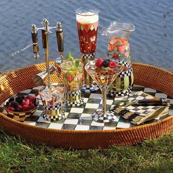 Courtly Check Rattan & Enamel Party Tray image two