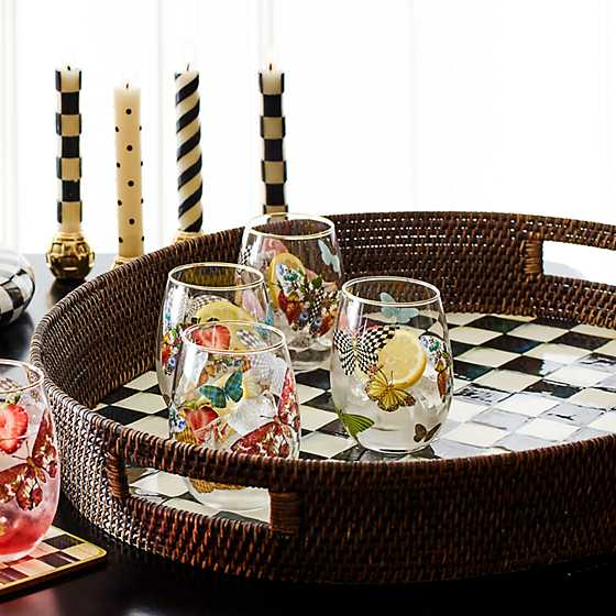 Courtly Check Rattan & Enamel Party Tray image four