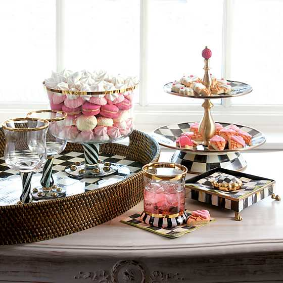 Courtly Check Rattan & Enamel Party Tray image seven