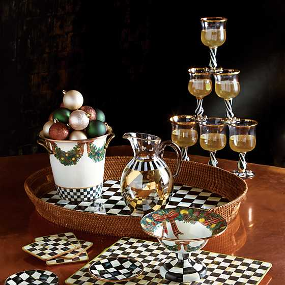 Courtly Check Rattan & Enamel Party Tray image nine