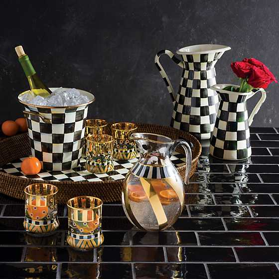 Courtly Check Rattan & Enamel Party Tray image ten