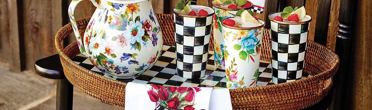 Courtly Check Rattan & Enamel Party Tray Banner Image