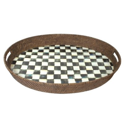 Image for Courtly Check Rattan & Enamel Party Tray