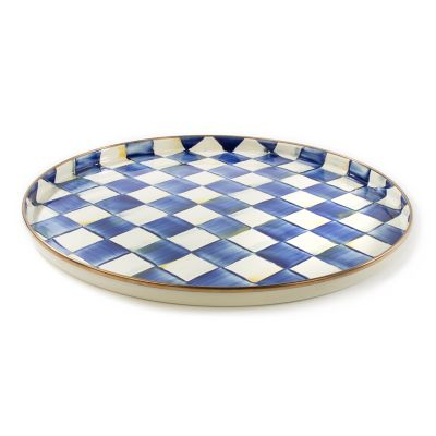 Royal Check Enamel Round Tray
