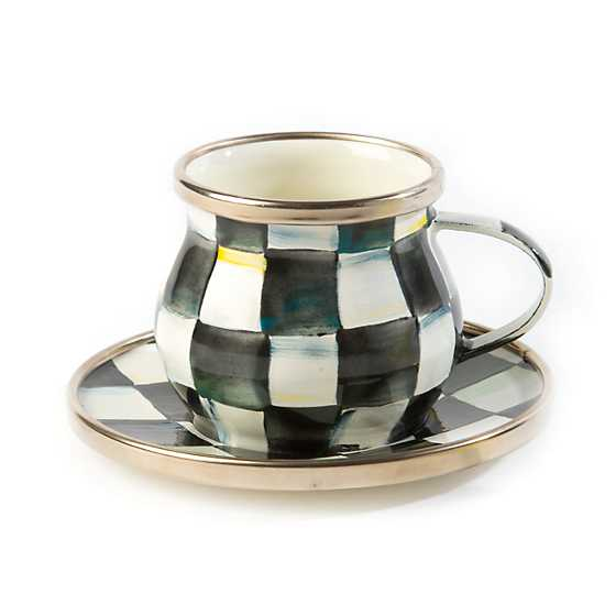 Courtly Check Enamel Espresso Cup & Saucer Set image three
