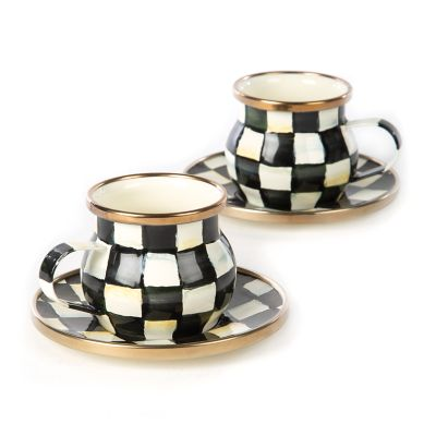 Courtly Check Enamel Espresso Cup & Saucer Set