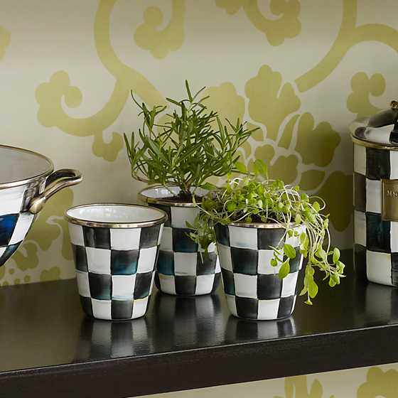 Courtly Check Enamel Herb Pots - Set of 3 image three