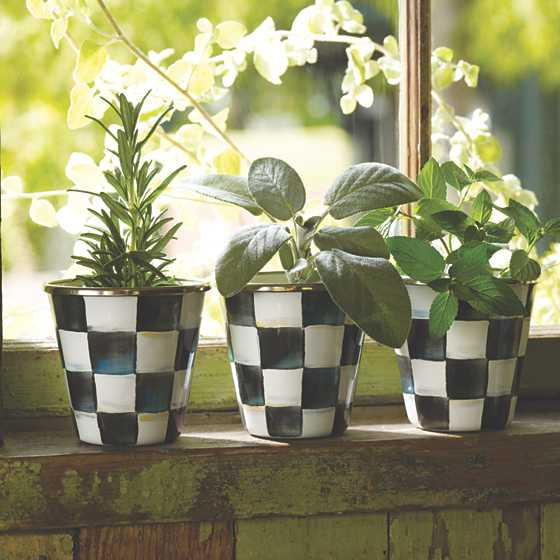 Courtly Check Enamel Herb Pots - Set of 3 image four