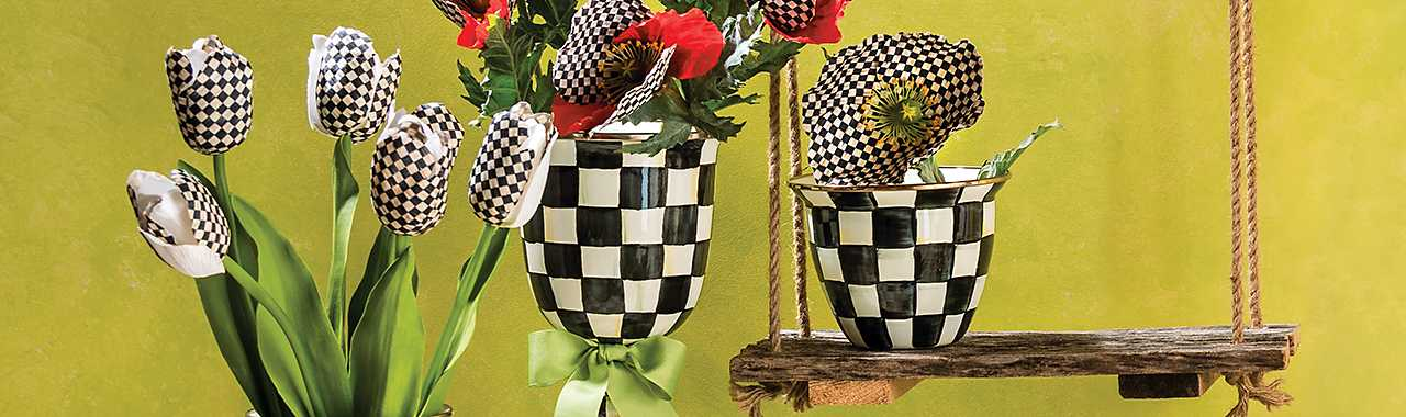 Courtly Check Enamel Flower Pot - Large Banner Image