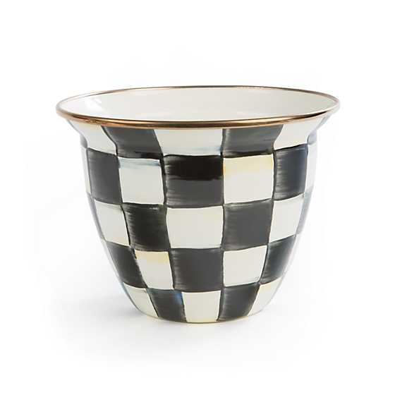 Courtly Check Enamel Flower Pot - Large image one